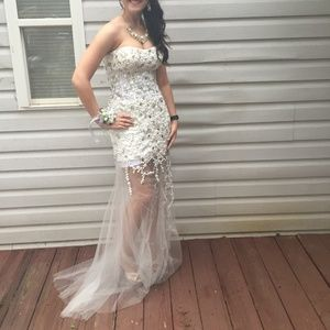 White Jovani Prom Dress